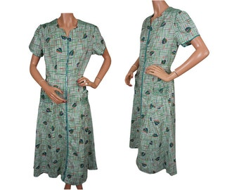 Vintage 1950s Atomic Leaf Print Cotton Dress