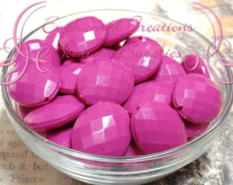 24mm x 20mm Rose Pink Oval Faceted Acrylic Beads Qty 100 Wholesale