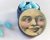 Sleep Tight MOON Decoupaged Pill Box - Man in the Moon Tooth fairy Wood Powder Box - Luna Pill Box Pick your own Color