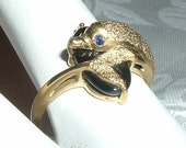 Adorable 10K Gold Dolphin Ring Embellished with Sapphire and Onyx Sz 6