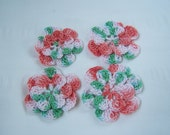 Appliques hand crocheted flowers set of 4 country christmas cotton 1.5 inch