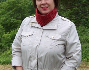 Red sparkle silk short cowl neckwarmer neck accessories 2 to choose from crochet and knit deep red