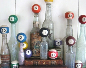 Up-cycled billiard bottle stopper-vintage pool balls-great gift-