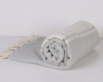 Turkish Bath Towel... NEW Peshtemal natural light Gray