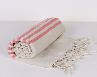 Bath Towel / Beach Towel , Turkish Bath Towel...Linen - Cotton PESHTEMAL Cream-Red