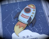 ROCKET SHIP Outer Space Party Invitation