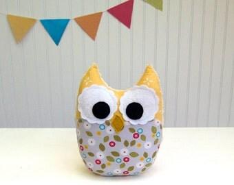 Owl Plush Toy Mini Pillow Stuffed Animal Yellow Gray Pink Ready to Ship