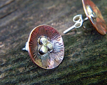 Rustic copper and sterling silver poppy earrings