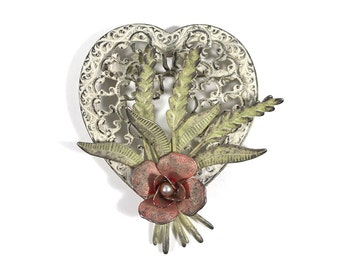 Antique Metal Heart and Floral Brooch
