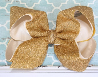 "Sparkle Shine Glitter Gold & Ivory Extra Large Jumbo Sparkly Bling Hair Bow - 2.25"" Grosgrain Glitter Ribbon -- Dance, Cheer, Party, FUN!"
