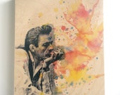 Wood Wall Art Panel Johnny Cash Art Print from Original Watercolor Painting on Wood 8x10 in Johnny Cash Print On Wood Panel