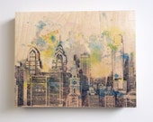 Wood Wall Art Panel Philadelphia Skyline Art Print from Original Watercolor Painting Print on Wood Philadelphia Skyline Art On Wood Panel