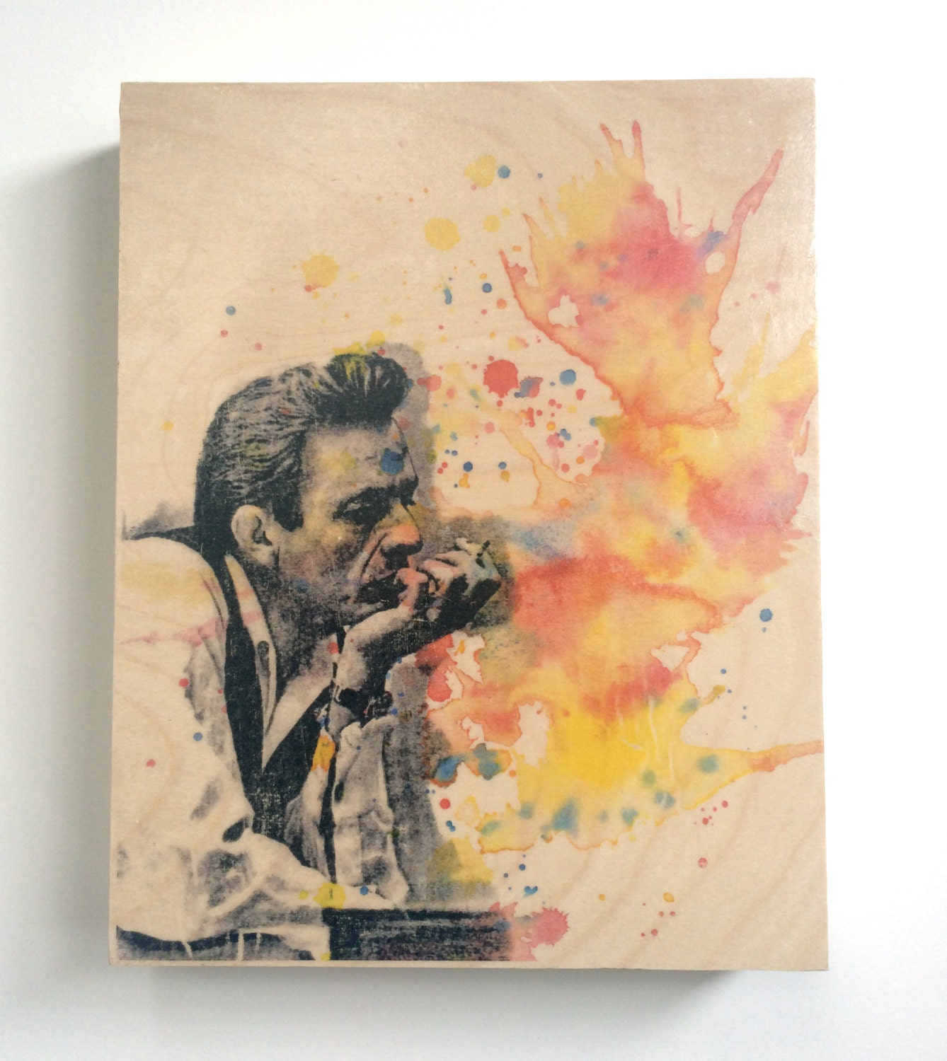 Wood wall art panel johnny cash art print from original - Wood panel artwork ...