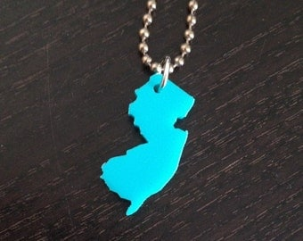 Turquoise Blue Small New Jersey Necklace, Acrylic State Jewelry