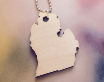Wooden Michigan Necklace, Large Size in Lasercut Wood, State Jewelry