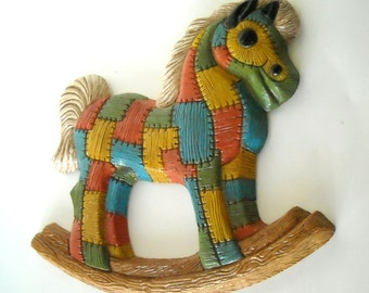 Vintage 80's Signed Patchwork Lightweight Rocking Horse Wall Hanging