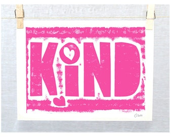 Teen Girl Decor, Quotes for Girls, Girls Bedroom Art, KIND, Wall Art, Housewares
