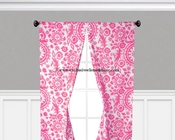 fuchsia hot pink curtains floral damask curtain panels drapery window