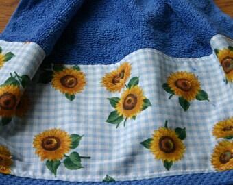 Blue Sunflower Kitchen Hanging Towel