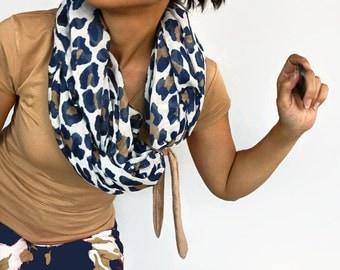 Infinity Scarf, Leopard Print Pattern, Soft Fine Circle Cowl, Chunky Summer Loop, Ultramarine, Beige, Neck Warmer, Shawl, Handmade
