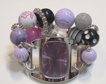 Lavender, black and zebra with silver accent beads double stranded interchangeable watch band includes Lavender watch face