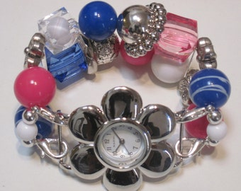 Pink, white, clear and blue with silver accent beads double stranded interchangeable watch band includes white flower watch face