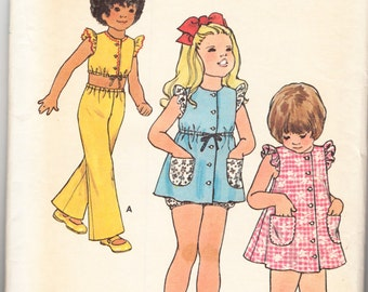 Vintage 1970s Butterick 6625 Sewing Pattern Children's Girl's Dress, Top, Pants & Bloomers Size 4