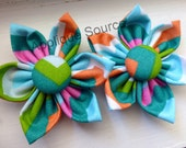 Fabric Flowers - HANDMADE - with Matching Cover Buttons x 2 - Tropical Chevron - BIGGER Sizes and WHOLESALE Also Avail
