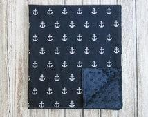 Navy Blue Anchor Baby Blanket, Minky Baby Blanket, Navy Blue Nautical Baby Blanket