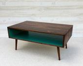 Handmade Coffee Table Mid Century Modern Cherry Cola and Teal Coffee Table
