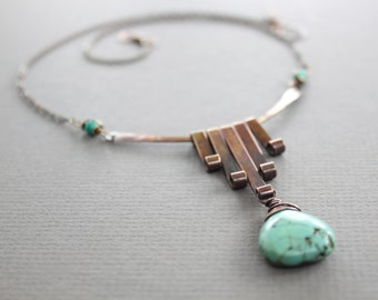 Art Deco style with cascading bars with howlite turquoise drop copper necklace - Art Deco necklace - Gemstone necklace - Drop necklace