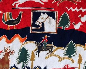 "vintage 50s cotton western horse cowboy animal cloth, 54""x 75"""
