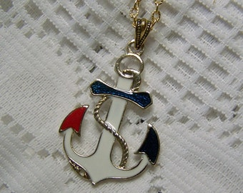 Red, White & Blue ANCHOR Necklace - Large Enamel Anchor Pendant - Gold Plated Nautical Anchor - Boating - Sailing - USN - Maritime