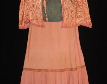 1920's Flapper meets Boho 3 Piece Ensemble Dress, Top, Boudoir Jacket Carribean Colors Vintage Wearable Art
