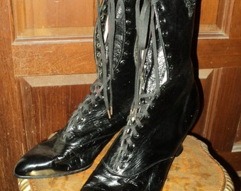 Antique Victorian Black Leather Boots with Jett Beaded Applique Wearable Size Lace Up Historical