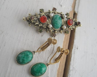 Vintage Pin and Earring Set Gold Green