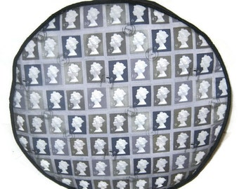 Pouff  Postage Stamps om Grey Foot Rest Floor Cushion Pouf