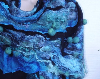 Reserved - Nuno Felted Scarf Shawl Wrap Turquoise Emerald Black Irregular OOAK