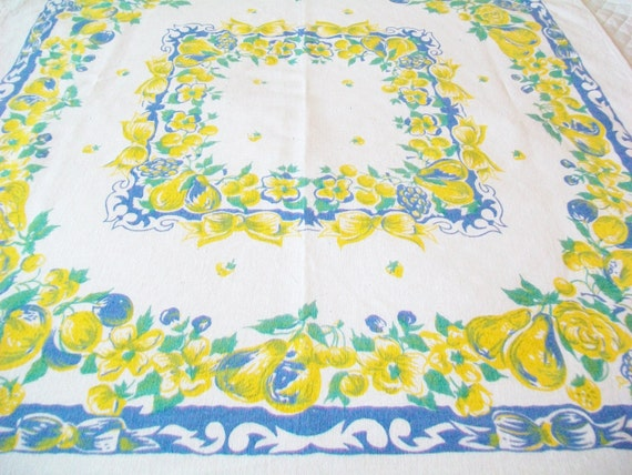 Sale Midcentury Tablecloth Yellow Blue Linen 1960s