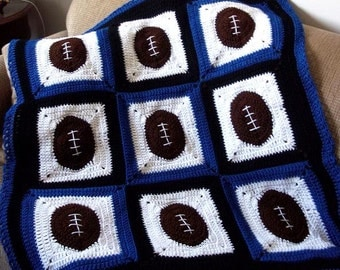 Pattern Only Football Fever Crochet Baby afghan blanket INSTANT DOWNLOAD PDF sports adult boy girl