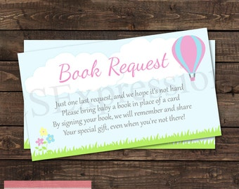 Up Up and Away! Hot Air Balloon Baby Shower Book Request Card
