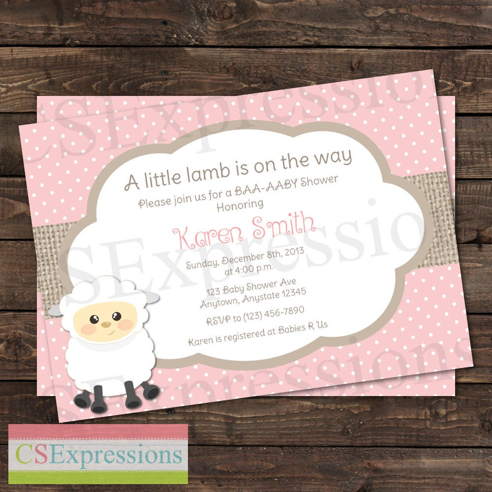 cute little lamb baby shower invitation