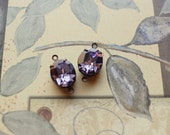 Vintage Tanzanite Foiled Faceted Oval Swarovski Crystal Oxidized Brass Charms Connectors 12mm x 10mm