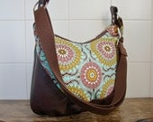 Zippered Hobo Bag in Joel Dewberry Doily in Mint with Chocolate Brown Faux Leather