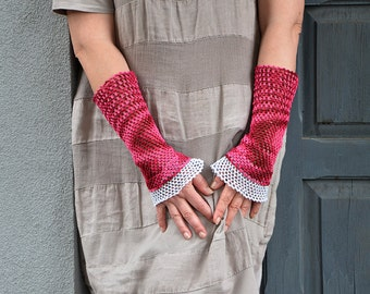 Pure Cherry - crocheted open work lacy romantic multicolored layered wrist warmers mittens cuffs