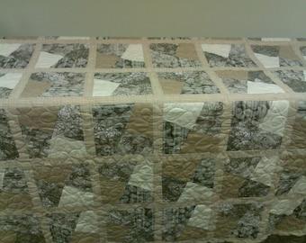 sand/sage handmade quilt full/queen size