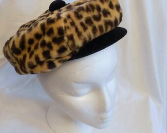 Vintage Mod Faux Leopard Fur Hat  Poor Boy Cap Style Jean Black Velvet Trim 1960's Retro Modern