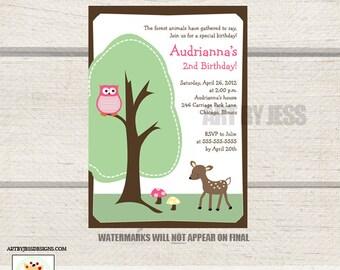 Woodland Deer Girly Pink Owl Birthday Invitation, Nature birthday invitations, JPG File Digital Invitation Print your Own