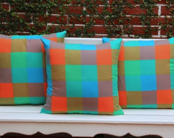 Was 63 now on clearance multi  colored Turquoise green and Orange sham Ready to ship.