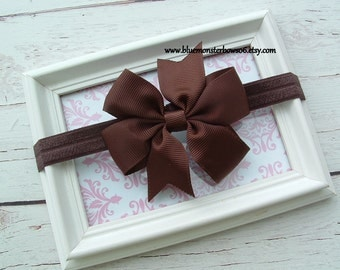 Baby Girl Brown Hair Bow and Stretchy Interchangeable Headband